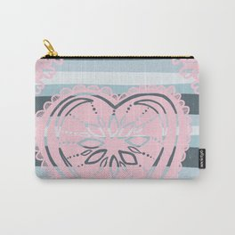 Have a Heart in pink & grey / gray Carry-All Pouch