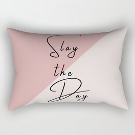 Slay the Day Typography Quote Pink Blush Mauve Rectangular Pillow