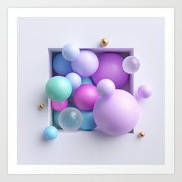 3d abstract illustration, assorted pink blue pastel balls inside square niche isolated on white back Art Print