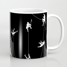 Invasion of the rock climbers (white on black) Mug