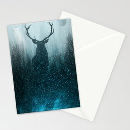 Snow Stag Silhouette Stationery Cards