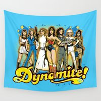 70s Wall Tapestries featuring SuperWomen of the 70s - DyNoMite! by Captain_RibMan