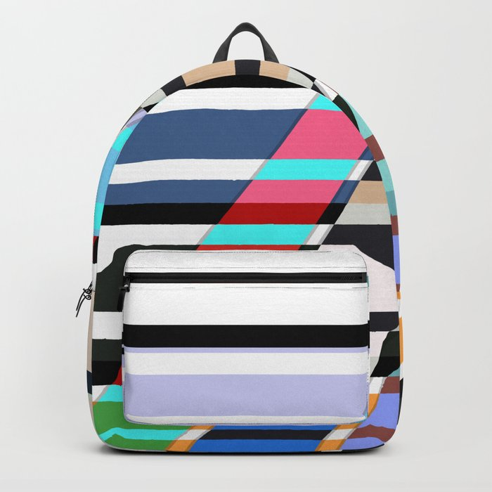 Colorful oblique lines . Abstract pattern 2 . Backpack