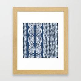 Cable Row Navy 1 Framed Art Print