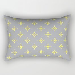 Ornamental Pattern with Grey and Lemon Yellow Colourway Rectangular Pillow