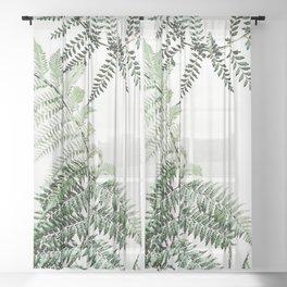 Watercolor plant Sheer Curtain