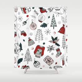 Christmas holiday pattern, winter hand drawing background. Shower Curtain
