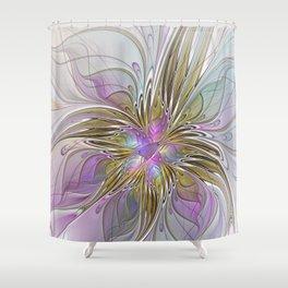 Flourish, Abstract Fractal Art Flower Shower Curtain