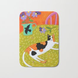 Calico Cat on table reproduction of original painting by Tascha Parkinson Bath Mat