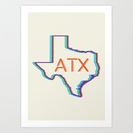 ATX Austin, Texas Retro Neon Lights Art Print