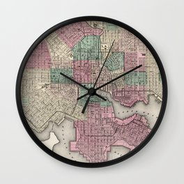 Vintage Map of Baltimore MD (1873) Wall Clock