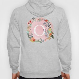 Flower Wreath with Personalized Monogram Initial Letter O on Pink Watercolor Paper Texture Artwork Hoody