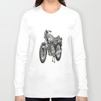 motorbike Long Sleeve T-shirts featuring Stippled Motorbike  by Rachael Kotvojs
