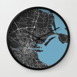 Dublin Map   Ireland   Black & Blue Colors   More Colors, Review My Collections Art Print Wall Clock