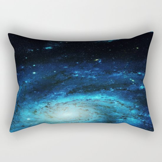 Teal Pinwheel Galaxy Rectangular Pillow