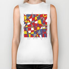 Red, Yellow & Blue Abstract Biker Tank