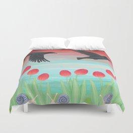 crows, tulips, & snails Duvet Cover