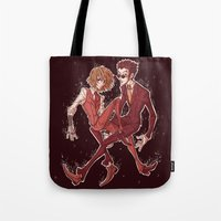 suits Tote Bags featuring suits by vvisti