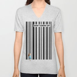 Don't grow up! - Art print with little girl and bar code Unisex V-Neck