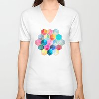 bohemian V-neck T-shirts featuring Crystal Bohemian Honeycomb Cubes - colorful hexagon pattern  by micklyn