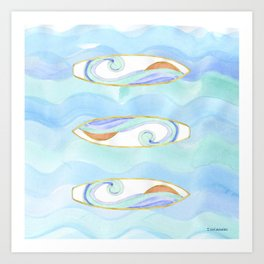Surfboard retro watercolor Art Print