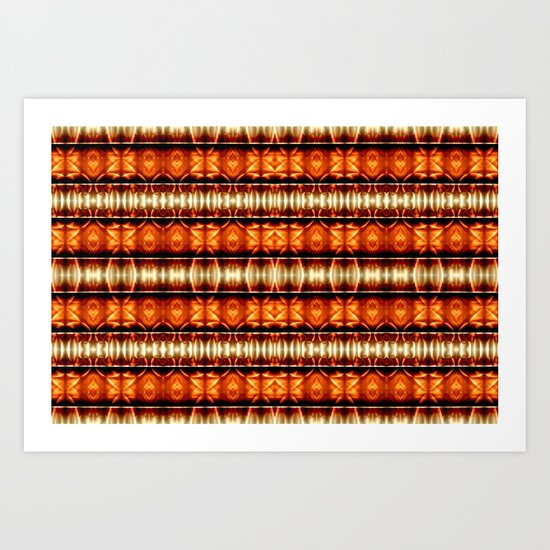 Pattern orange white Art Print