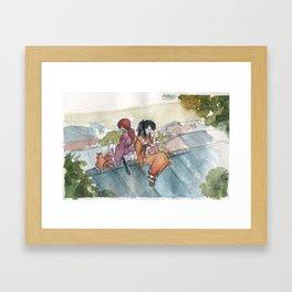 Kenshin and Chickens Framed Art Print
