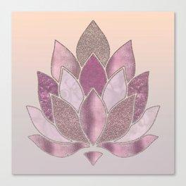 Elegant Glamorous Pink Rose Gold Lotus Flower Canvas Print