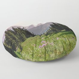 Mount Rainier Summer Adventure X - Pacific Northwest Mountain Landscape Floor Pillow