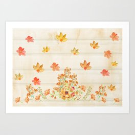 Autumn Flowers in Watercolor Art Print