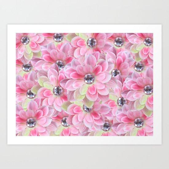 Shocking Pink Flora Gems Art Print