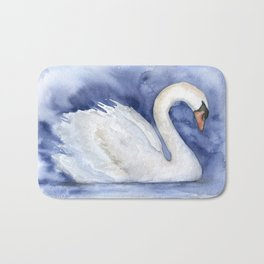 Swan Watercolor Painting Bath Mat
