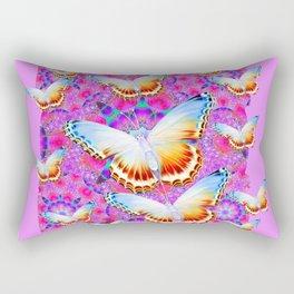 EXOTIC ORIENTAL BUTTERFLIES PINK-YELLOW ART Rectangular Pillow