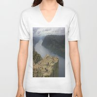 norway V-neck T-shirts featuring Preikestolen, Norway (2) by Kim Ramage