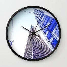 pyramid building and modern building at San Francisco, USA Wall Clock