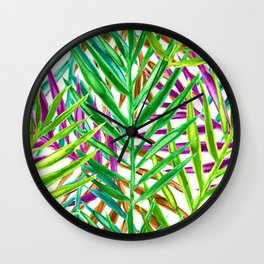 Rainbow Watercolor Palm Leaves in White Wall Clock