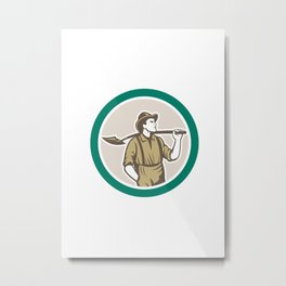 Prospector Miner With Shovel Circle Retro Metal Print