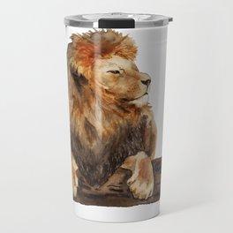 Watercolor lying lion Travel Mug