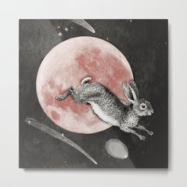Chasing rabbit's over the strawberry moon Metal Print