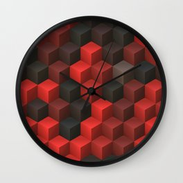 Artistic Cubes 07 red black Wall Clock