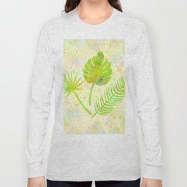 Tropical Leaf Watercolor Painting, Green Palm Tree Leaves Long Sleeve T-shirt