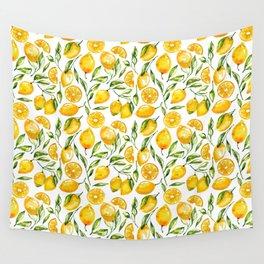 sunny lemons print Wall Tapestry