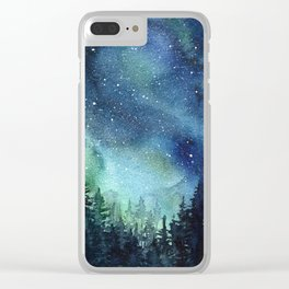 Galaxy Watercolor Aurora Borealis Painting Clear iPhone Case