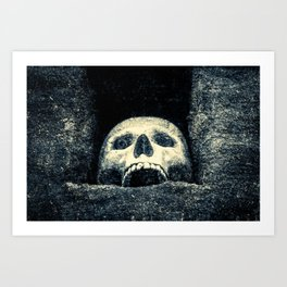 Old Human Skull In A Pagan Temple Art Print