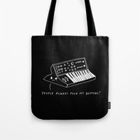 pun Tote Bags featuring Moog pun by Alxndra Cook