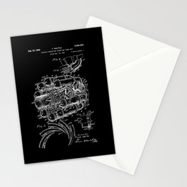 Jet Engine: Frank Whittle Turbojet Engine Patent - White on Black Stationery Cards