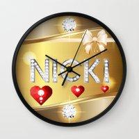 nicki Wall Clocks featuring Nicki 01 by Daftblue
