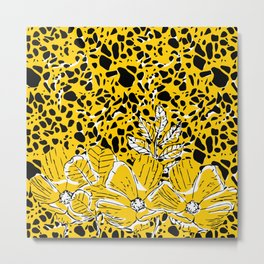 Yellow Black White Floral Abstract  Metal Print