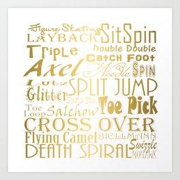 Figure Skating Subway Style Typographic Design Gold Foil Art Print