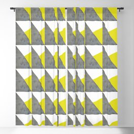 Gray Yellow White Triangles Pattern Blackout Curtain